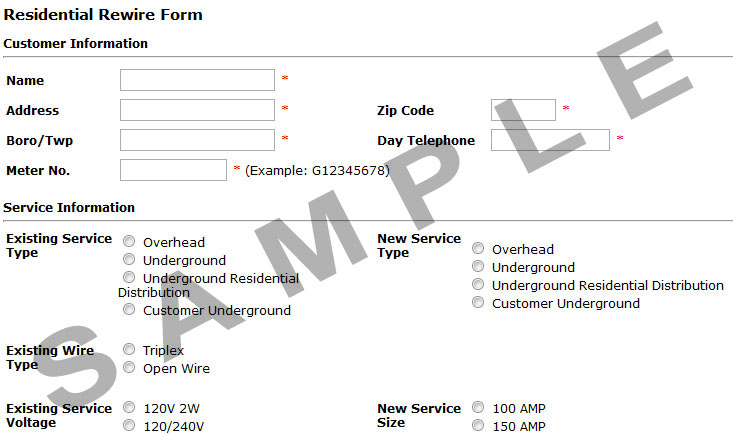Residential Rewire Form Example